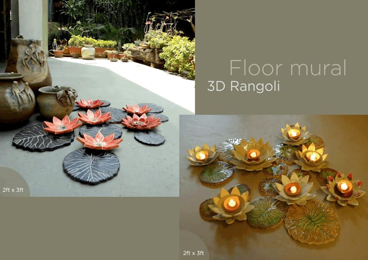 Lotus Ceramic Floor Mural:  Balconies, verandas & terraces  by Morbi Elegance AND Balaji Wall Texture