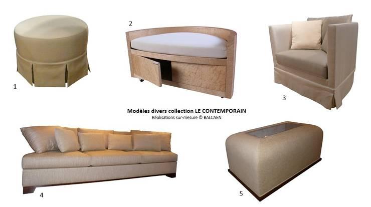 Ensemble de pouf, banquette, canapé, fauteuil et table basse: Salon de style  par BALCAEN Mobilier de style, Paris