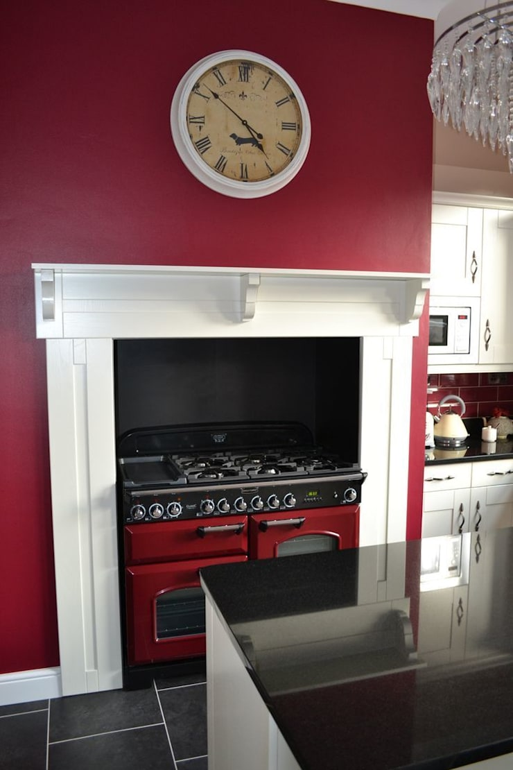 Wentworth Kitchen Units in Alabaster with matching mantel.:   by Statement Kitchens