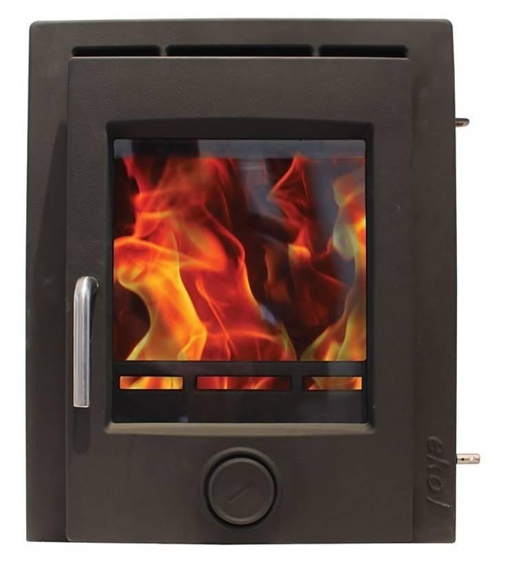 Ekol Inset 5kW Matt Black Wood Burning - Multi Fuel DEFRA Approved Stove:  Living room by Direct Stoves