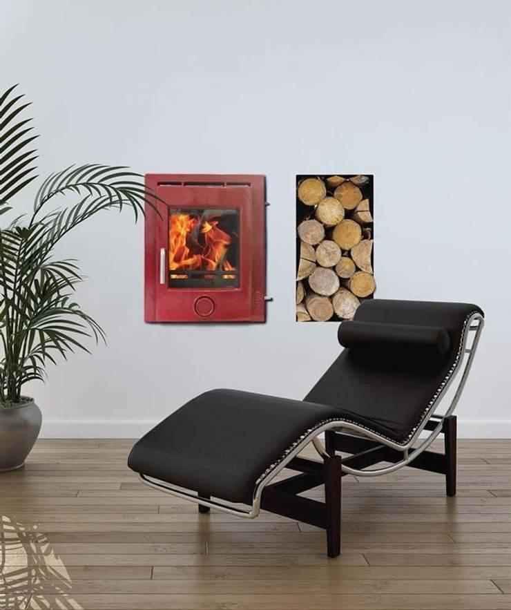 Ekol Inset 5kW Coloured Enamel Wood Burning - Multi Fuel DEFRA Approved Stove:  Living room by Direct Stoves