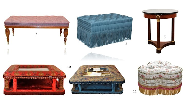 Ensemble de banquette, tables basses, guéridon et tabouret NAPOLÉON III: Salon de style  par BALCAEN Mobilier de style, Paris