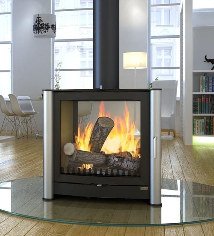Firebelly FB3 Double Sided Woodburning Stove:  Living room by Direct Stoves