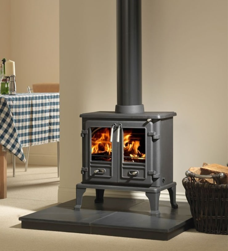 Firefox 8 Twin Door Wood Burning - Multi Fuel Stove:  Living room by Direct Stoves