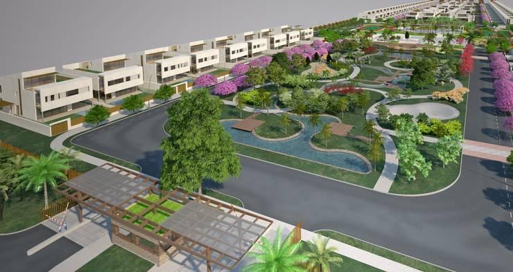 Conjunto de casas con jardín central: Casas de estilo moderno de FG ARQUITECTES