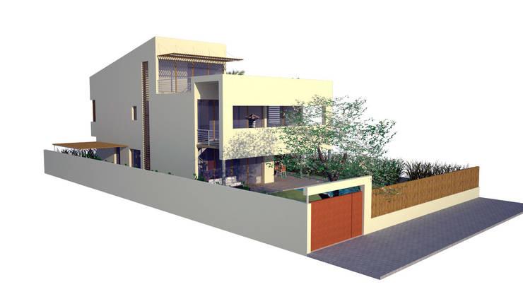 Fachada principal y fachada lateral: Casas de estilo moderno de FG ARQUITECTES