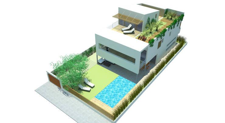 Vista aérea fachada principal y jardín: Casas de estilo moderno de FG ARQUITECTES