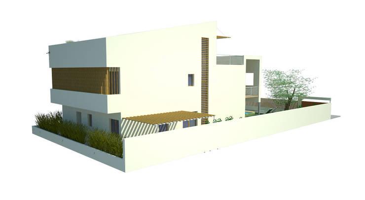 Fachada lateral: Casas de estilo moderno de FG ARQUITECTES