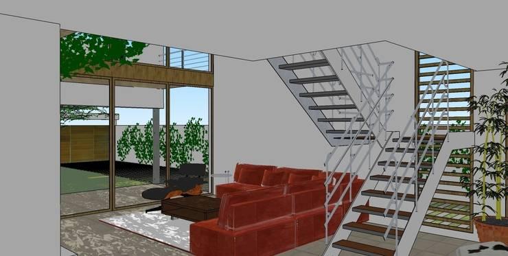 Sala de estar en planta baja: Salones de estilo moderno de FG ARQUITECTES