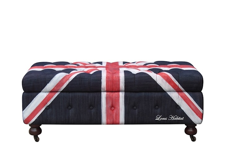 Union Jack Ottoman from Locus Habitat:  Living room by Locus Habitat