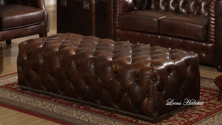 Leather Chesterfield Ottoman from Locus Habitat:  Living room by Locus Habitat