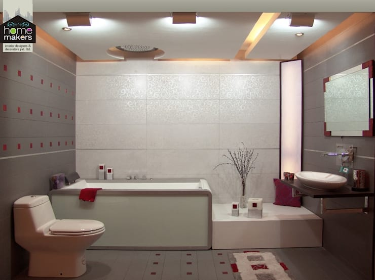 Modern Bathroom:  Bathroom by home makers interior designers & decorators pvt. ltd.