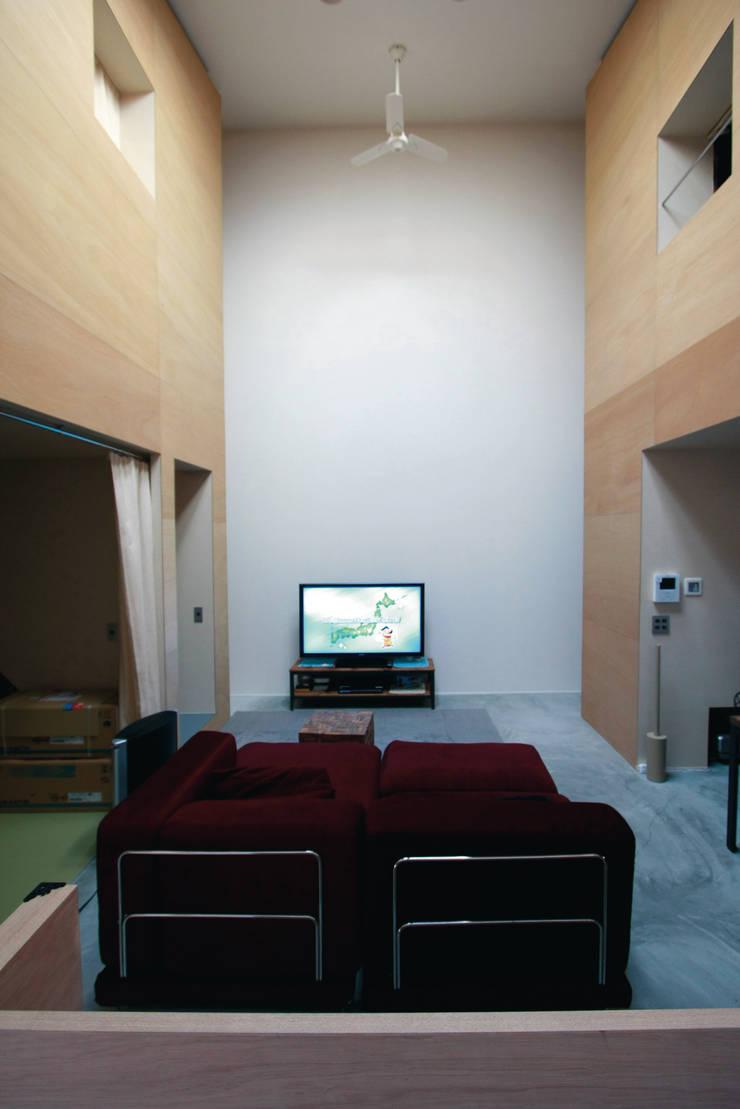 2つのハコに囲まれたリビングルーム: Kondohideo Architects co,;ltd.が手掛けたリビングです。