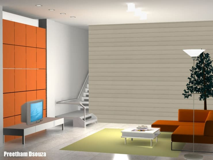 Minimalistic interior space -Living room:  Living room by Preetham  Interior Designer