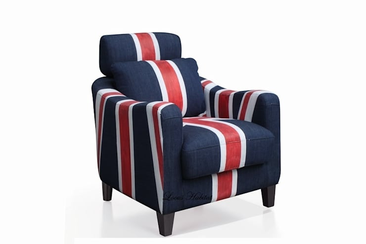 Union Jack Armchair from Locus Habitat:  Living room by Locus Habitat