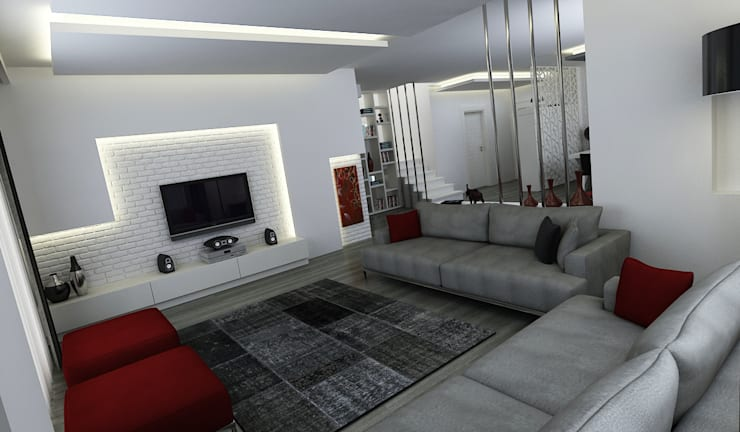 Niyazi Özçakar İç Mimarlık – E.K. EVİ: modern tarz Oturma Odası