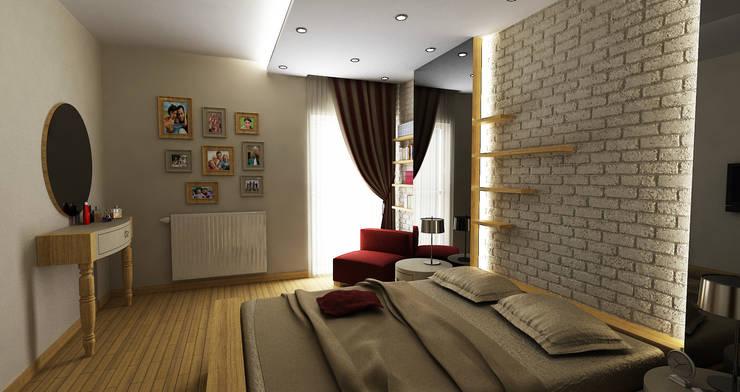 Niyazi Özçakar İç Mimarlık – E.E. EVİ: modern tarz Yatak Odası
