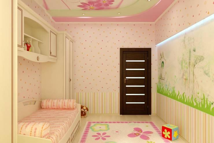 Детская в частном доме: Спальни в . Автор – Цунёв_Дизайн. Студия интерьерных решений.,