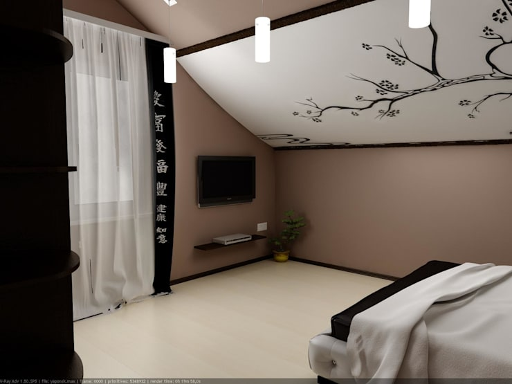Мансардная спальня в восточном стиле: Спальни в . Автор – Дизайн студия 'Exmod' Павел Цунев
