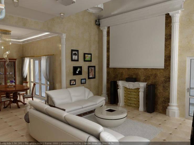 Частный дом г. Невинномысск. гостиная: Гостиная в . Автор – Дизайн студия 'Exmod' Павел Цунев