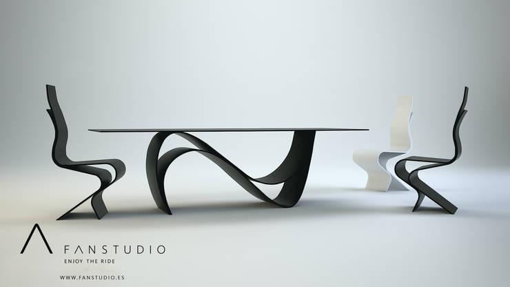 COMEDOR MINIMALISTA_laminart collection: Comedores de estilo  de FANSTUDIO__Architecture & Design