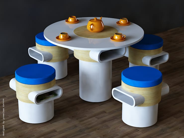 Coffee table + stools:  Dining room by Preetham  Interior Designer