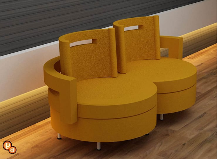 Twin seater:  Living room by Preetham  Interior Designer