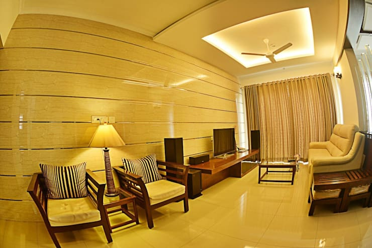 Apartment in Bangalore:  Walls by Creative Axis Interiors Pvt. Ltd.