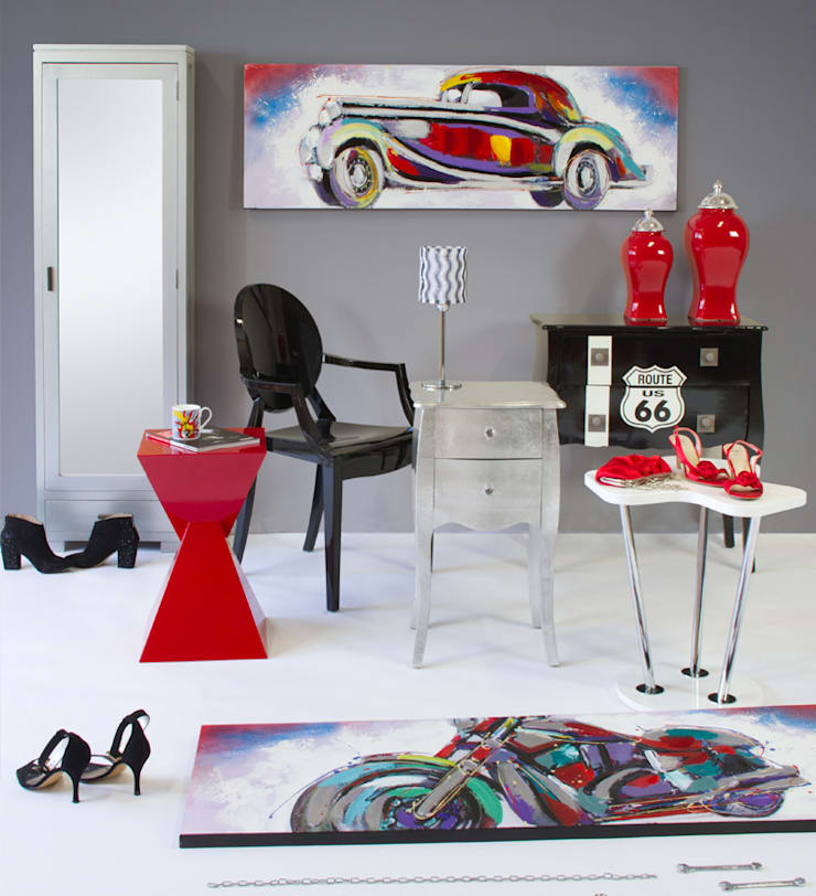 Ambiente rojo y negro: Salones de estilo  de Actúa Decor