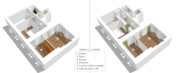 Maquette Existant / Projet: Maisons de style de style Minimaliste par Emilie Marx