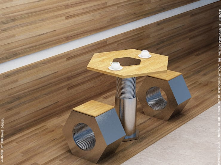 Nut & Bolt Coffee table:  Balconies, verandas & terraces  by Preetham  Interior Designer