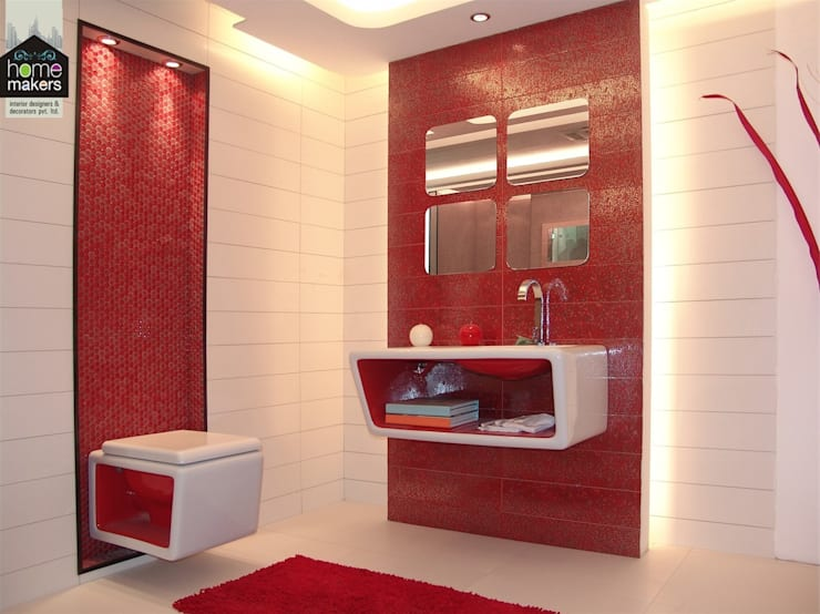 Ultra-Modern Red Washroom:  Bathroom by home makers interior designers & decorators pvt. ltd.
