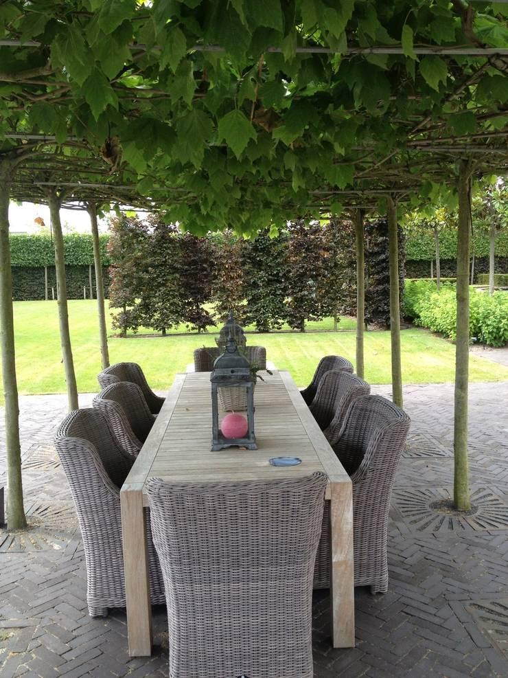 Natuurlijke schaduwoverkapping door dakbomen te plaatsen bij eettafel van Stam Hoveniers Rustiek & Brocante