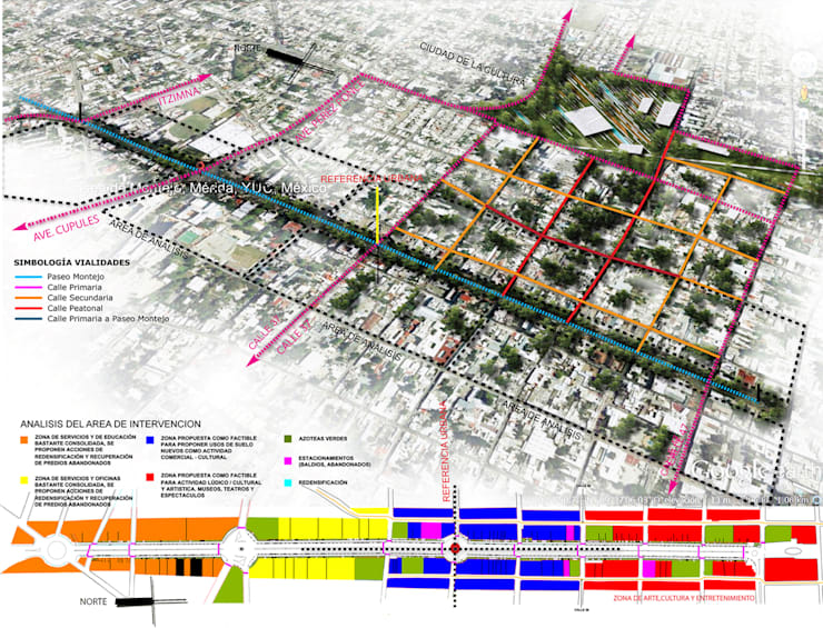 Croquis de conjunto de Paseo Montejo y barrios cercanos con análisis de intervención:  de estilo  por Arturo Campos Arquitectos