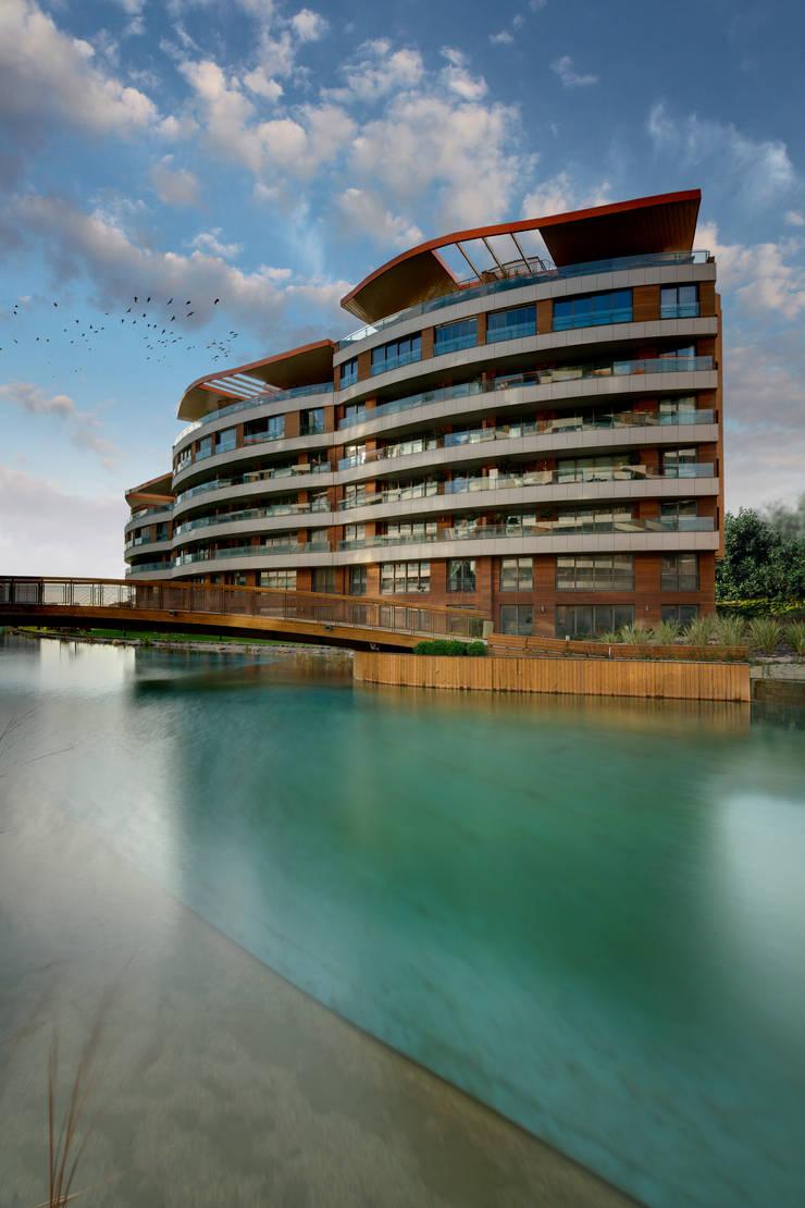 Evrenol Architects – Göl etabı - Yatay bloklar - Fotoğraf UĞUR EREN: modern tarz Evler
