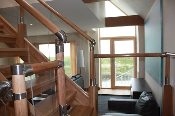 Internal Oak Stair:  Corridor & hallway by Architects Scotland Ltd