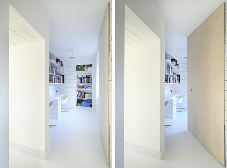 Heath Cottage Plywood office door:  Study/office by Brown + Brown Architects