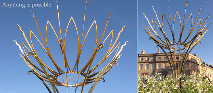 The Sun Flower Sculpture, Bathwick Hill, Bath, England:  Garden  by Ironart Ltd