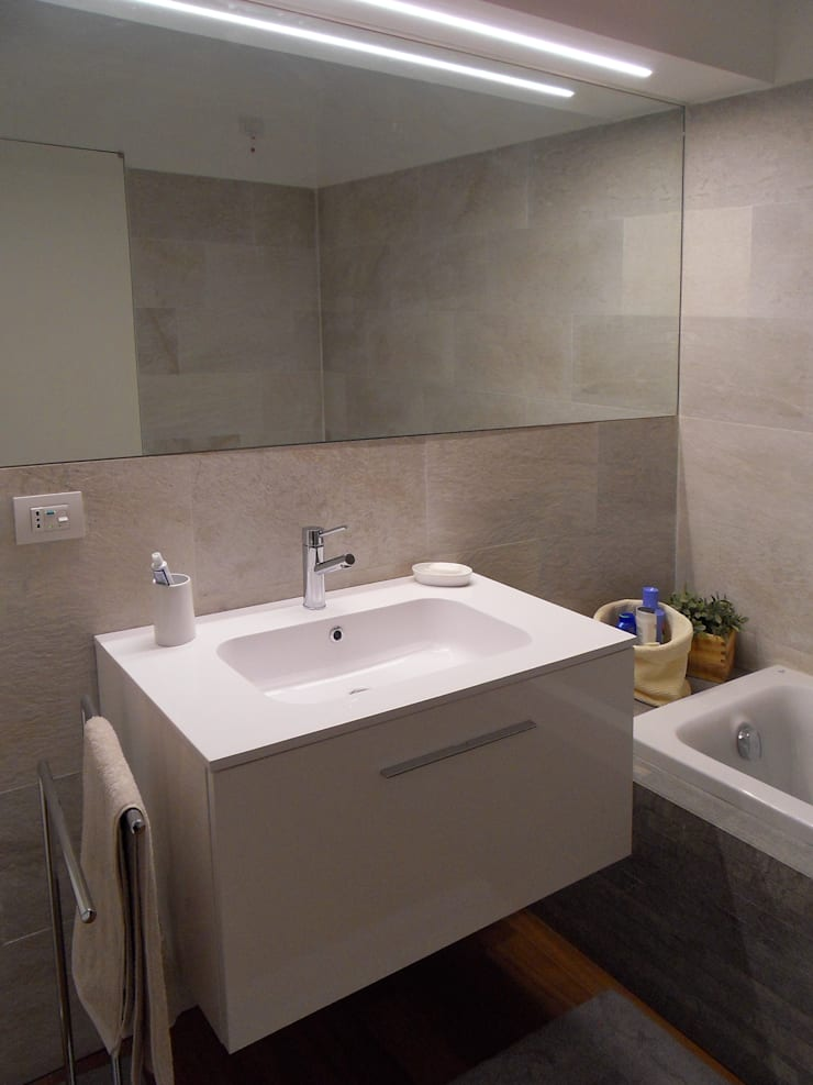 Particolare bagno di servizio: Bagno in stile  di gk architetti  (Carlo Andrea Gorelli+Keiko Kondo),