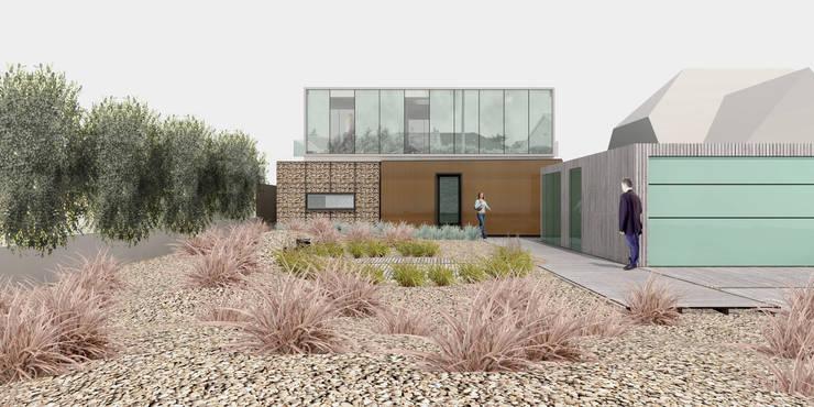 Beach House - Entrance Elevation:   by ABIR Architects