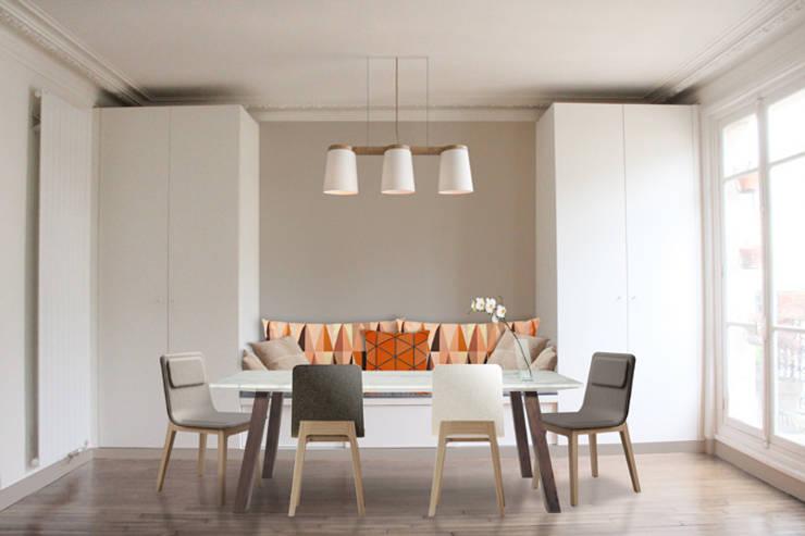 Salle-à-manger + assise et rangements sur mesure: Salle à manger de style  par Yeme + Saunier