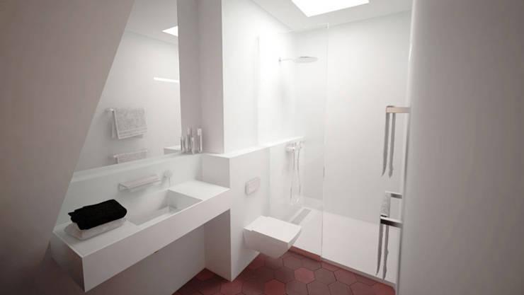 Suite parentale - SDB et lumière zénithale du vasistas existant: Salle de bains de style  par Yeme + Saunier
