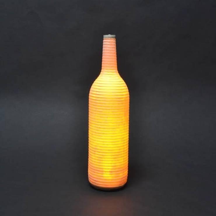 Japanese Sake Bottle Lamp  (A Japanese paper light):  Kitchen by Rin crossing