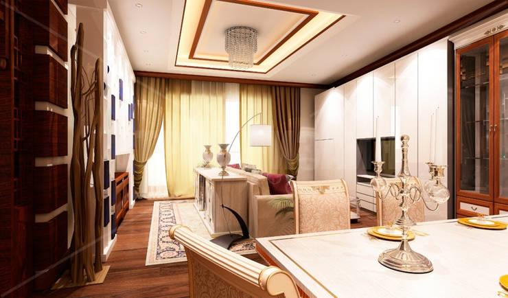 дизайн интерьера трехкомнатной квартиры: Гостиная в . Автор – СТРОЙДИЗАЙН