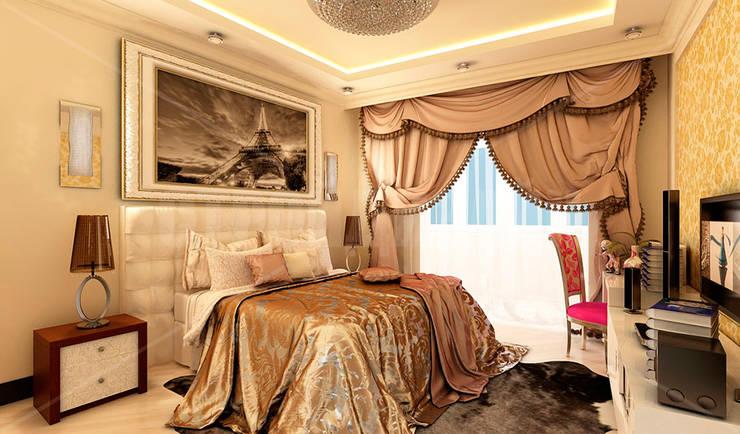 дизайн интерьера трехкомнатной квартиры: Спальни в . Автор – СТРОЙДИЗАЙН