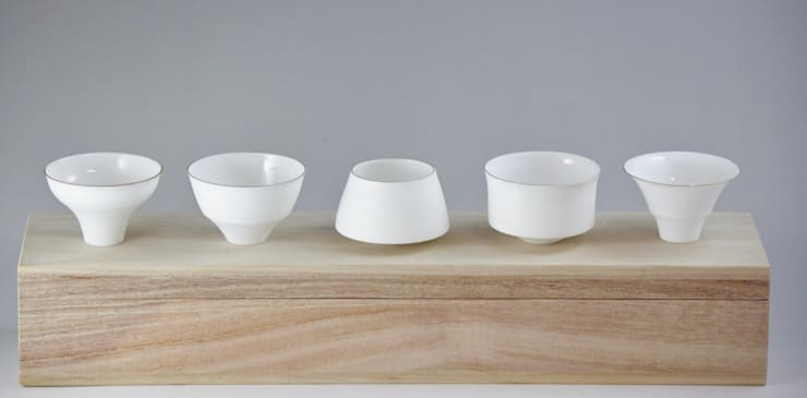 Egg Shell Guinomi (A set of sake cups):  Kitchen by Rin crossing