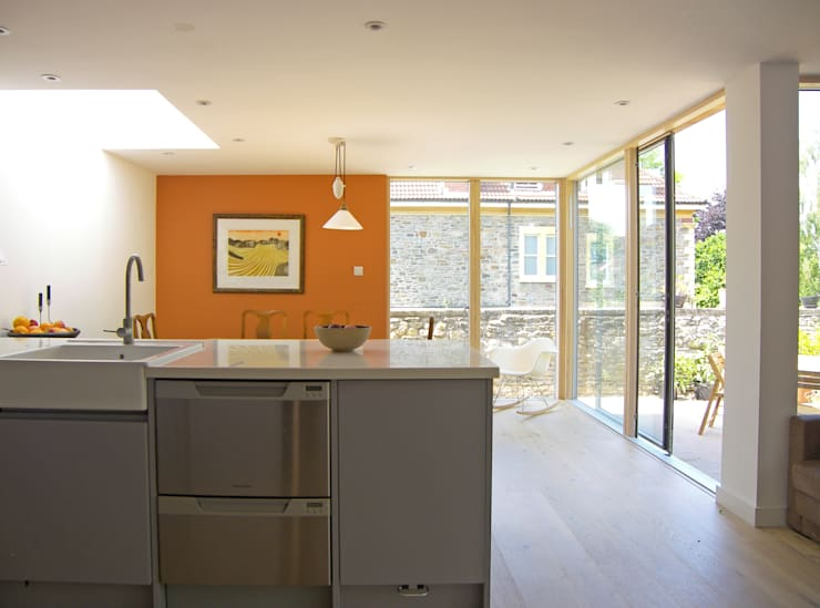Eco extension to 1960's townhouse in Bristol:  Kitchen by Dittrich Hudson Vasetti Architects