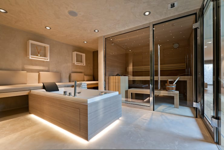 Espace Sauna, Hammam, Balnéothérapie: Salle de bains de style  par Atelier TO-AU