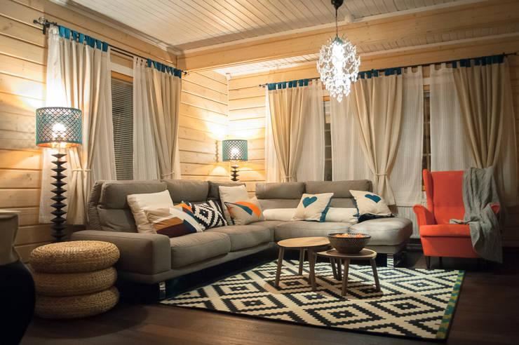 Гостиная в доме из клееного бруса:  в . Автор – design-family