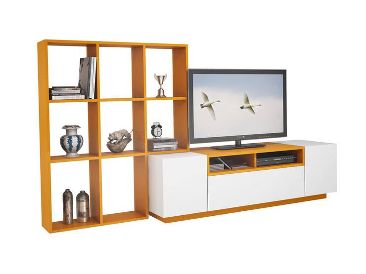 MİA MOBİLİ – Kitaplıklı Tv Sehpası: modern tarz Oturma Odası